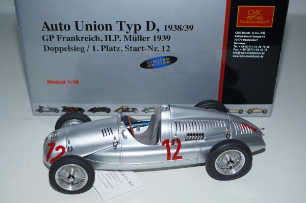 Auto Union Typ D #12, GP Frankreich 1939, H.P. Müller, CMC M-089