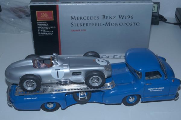 Mercedes-Benz W196 T-CAR + Renntransporter 'Blue Wonder' im Bundle CMC M-006T + M-036